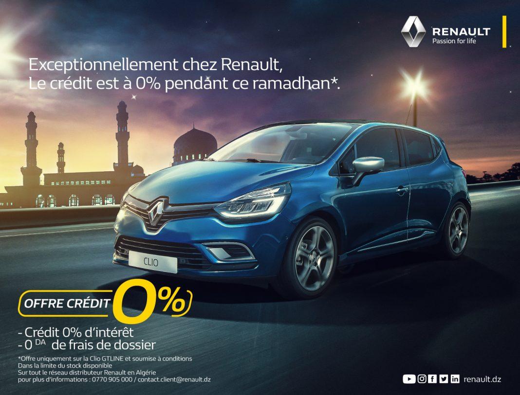 Renault Algérie : la CLIO GT-Line proposée à Crédit 0%